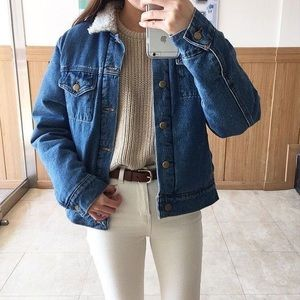 American Apparel unisex denim Sherpa jacket